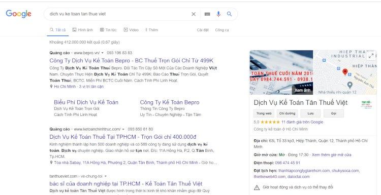 Hiển thị doanh nghiệp của Bạn trên Google Search khi đã đăng ký Google business.