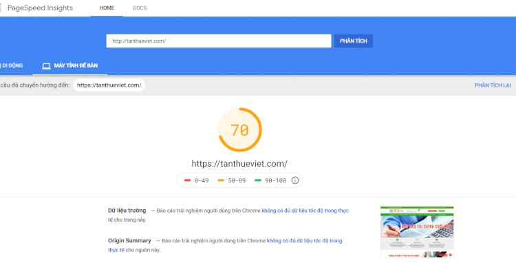 Tốc độ và điểm tối ưu được đánh giá từ Google PageSpeed Insights